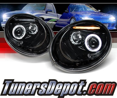 SPEC-D® Halo LED Projector Headlights (Glossy Black) - 98-05 VW Volkswagen Beetle