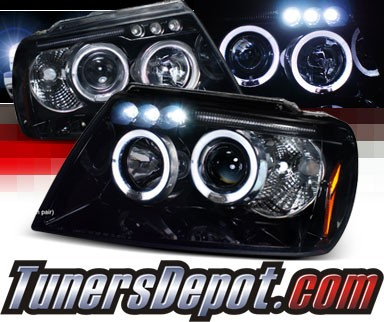 SPEC-D® Halo LED Projector Headlights (Glossy Black) - 99-04 Jeep Grand Cherokee