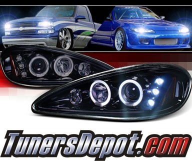 SPEC-D® Halo LED Projector Headlights (Glossy Black) - 99-05 Pontiac Grand Am