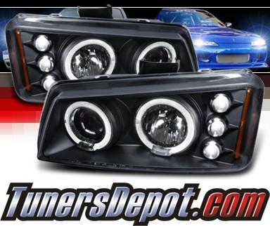 Spec D Halo Projector Headlights Black 03 06 Chevy Silverado 2lhp Siv03jm Tm