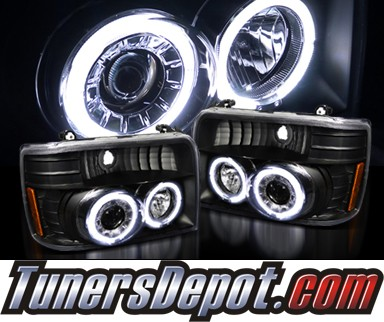 SPEC-D® Halo Projector Headlights (Black) - 92-96 Ford F150 F-150 (Version 2)