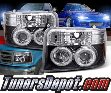 SPEC-D® Halo Projector Headlights (Black) - 92-96 Ford F350 F-350