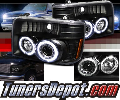 SPEC-D® Halo Projector Headlights (Black) - 92-96 Ford F350 F-350 (Version 2)