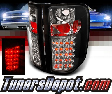 SPEC-D® LED Tail Lights (Black) - 09-10 Chevy Silverado Pickup Truck with 3047 Reverse Bulb ONLY (not 921 bulb)