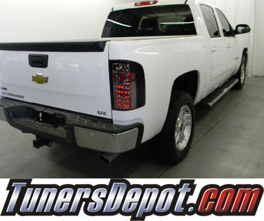 SPEC-D® LED Tail Lights (Smoke) - 09-10 Chevy Silverado Pickup Truck with 3047 Reverse Bulb ONLY (not 921 bulb)