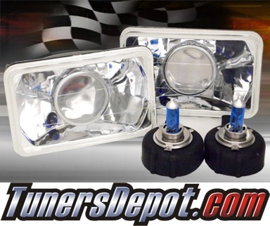 Sealed Beam H4651 Headlight Conversion Kit (Projector Style) - Universal 4x6 inch (Chrome)