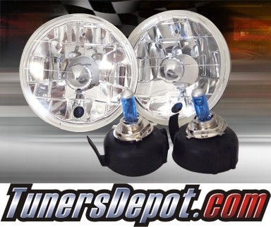 Sealed Beam Headlight Conversion Kit (Crystal Style) - Universal H5506 5 inch Round (Chrome)