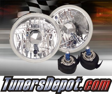 Sealed Beam Headlight Conversion Kit (Crystal Style) - Universal H6014 7 inch Round (Chrome)