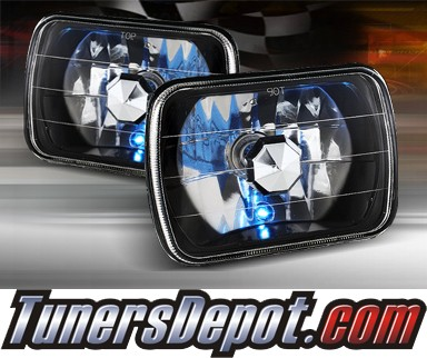 Sealed Beam Headlight Conversion Kit (Crystal Style) - Universal H6054 7x6 inch (Black)