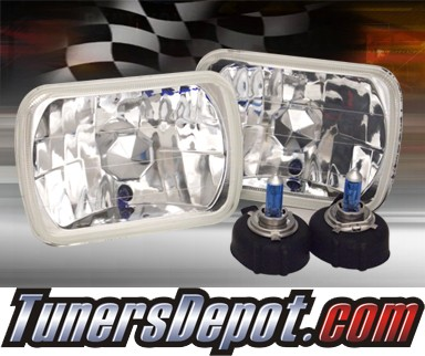 Sealed Beam Headlight Conversion Kit (Crystal Style) - Universal H6054 7x6 inch (Chrome)