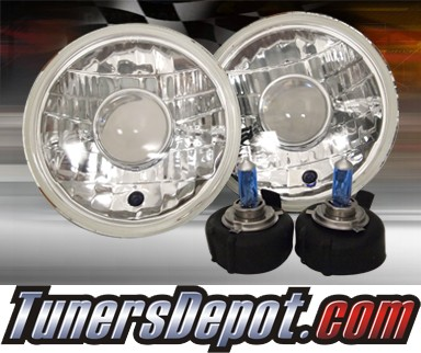 Sealed Beam Headlight Conversion Kit (Projector Style) - Universal H6015 7 inch Round (Chrome)