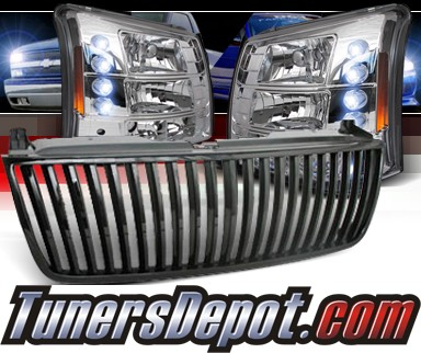 Sonar® 1 pc LED Crystal Headlights - 03-06 Chevy Silverado (Black Vertical Grill Included)
