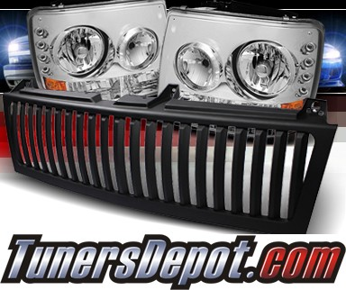 Sonar® 1 pc LED Crystal Headlights - 99-02 Chevy Silverado (Black Vertical Grill Included)