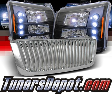 Sonar® 1 pc LED Crystal Headlights (Black) - 03-06 Chevy Silverado (Chrome Vertical Grill Included)