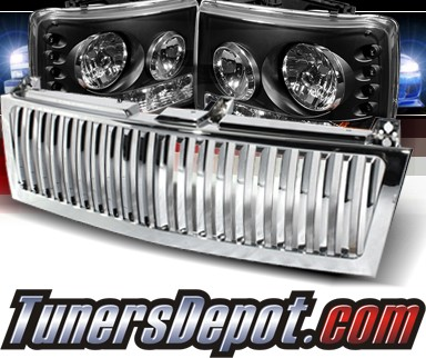 Sonar® 1 pc LED Crystal Headlights (Black) - 99-02 Chevy Silverado (Chrome Vertical Grill Included)