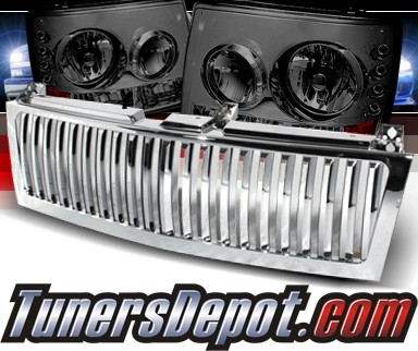 Sonar® 1 pc LED Crystal Headlights (Smoke) - 99-02 Chevy Silverado (Chrome Vertical Grill Included)