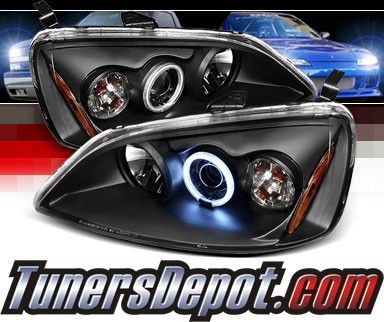 Sonar® CCFL Halo Projector Headlights (Black) - 01-03 Honda Civic 2/4dr