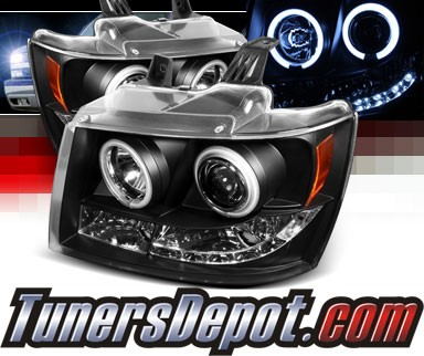 Sonar® CCFL Halo Projector Headlights (Black) - 07-13 Chevy Avalanche