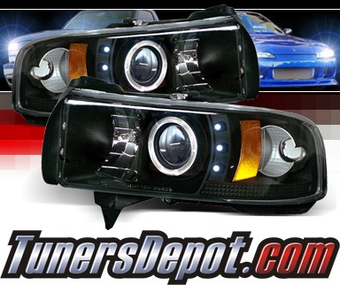 Sonar® CCFL Halo Projector Headlights (Black) - 94-02 Dodge Ram 2500/3500 NON-SPORT Model
