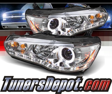 Sonar® DRL LED Halo Projector Headlights - 08-12 Mitsubishi Lancer (w/o Stock HID)