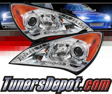 Sonar® DRL LED Halo Projector Headlights - 10-12 Hyundai Genesis 2dr Coupe