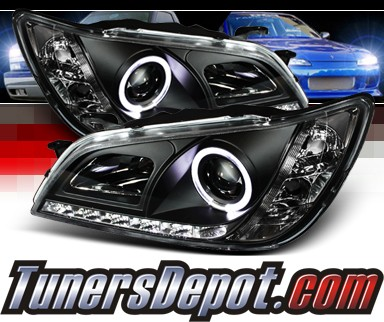 Sonar® DRL LED Halo Projector Headlights (Black) - 01-05 Lexus IS300 (w/ OEM HID Only)