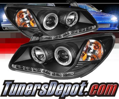 Sonar® DRL LED Halo Projector Headlights (Black) - 07-10 Hyundai Elantra