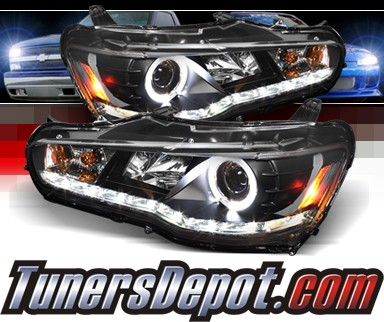 Sonar® DRL LED Halo Projector Headlights (Black) - 08-13 Mitsubishi Lancer Evolution EVO X (w/o Stock HID)