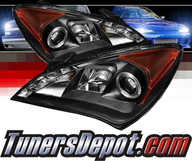 Sonar® DRL LED Halo Projector Headlights (Black) - 10-12 Hyundai Genesis 2dr Coupe