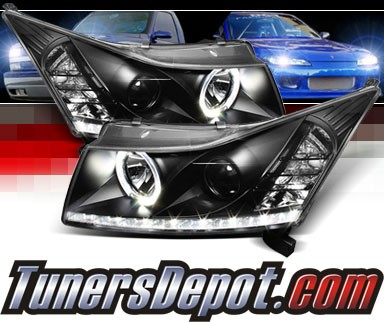 Sonar® DRL LED Halo Projector Headlights (Black) - 11-15 Chevy Cruze