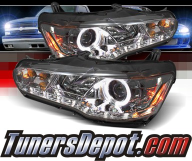 Sonar® DRL LED Halo Projector Headlights (Smoke) - 08-12 Mitsubishi Lancer (w/o Stock HID)