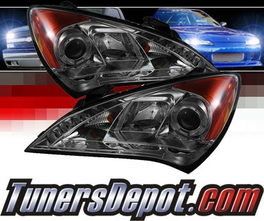 Sonar® DRL LED Halo Projector Headlights (Smoke) - 10-12 Hyundai Genesis 2dr Coupe