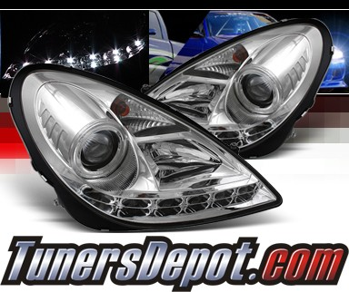 Sonar® DRL LED Projector Headlights - 05-10 Mercedes Benz SLK55 AMG R171 (w/ OEM HID Only)