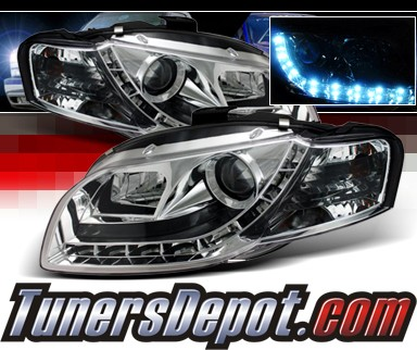 Sonar® DRL LED Projector Headlights - 06-08 Audi S4 (Exc. Convertible)