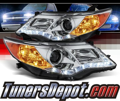 For 12-14 Camry Smoked DRL LED Pro Headlights Front Lamps Replacement Upgrade