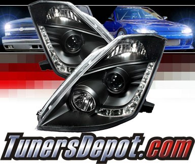 Sonar Drl Led Projector Headlights Black 03 05 Nissan 350z W Oem Hid Only Pro Yd N350z02 Bk