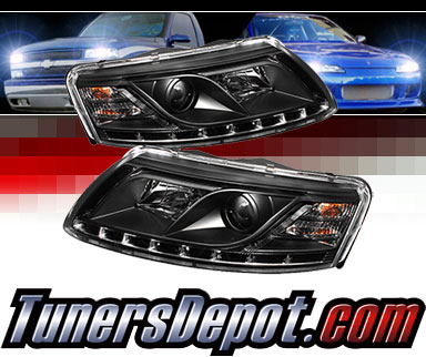 Sonar® DRL LED Projector Headlights (Black) - 05-07 Audi A6