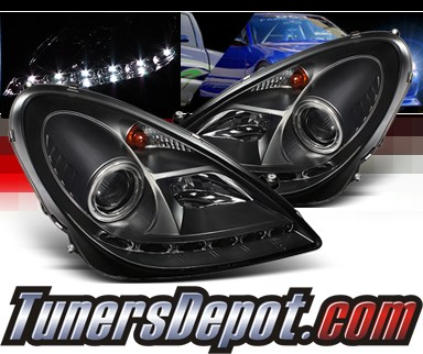 Sonar® DRL LED Projector Headlights (Black) - 05-10 Mercedes Benz SLK55 AMG R171 (w/ OEM HID Only)