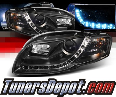 Sonar® DRL LED Projector Headlights (Black) - 06-08 Audi S4 (Exc. Convertible)
