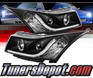 Sonar® DRL LED Projector Headlights (Black) - 11-16 Chevy Cruze