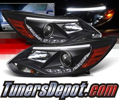 Sonar® DRL LED Projector Headlights (Black) - 12-14 Ford Focus