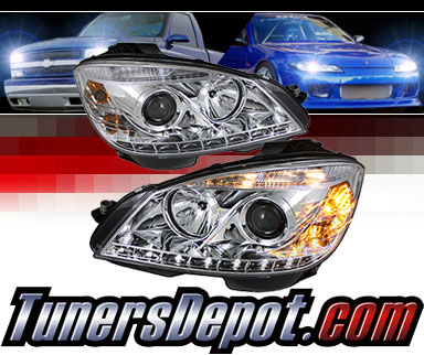 Sonar® DRL LED Projector Headlights (Chrome) - 08-11 Mercedes Benz C300 4dr  W203