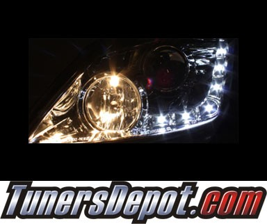 Sonar® DRL LED Projector Headlights (Smoke) - 03-05 Nissan 350Z (w/ OEM HID Only)