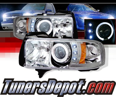Sonar® Halo Projector Headlights - 94-01 Dodge Ram 2500 / 3500 Pickup w/ Amber Reflector