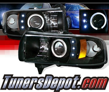 Sonar® Halo Projector Headlights (Black) - 94-01 Dodge Ram 2500 / 3500 Pickup