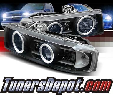 Sonar Halo Projector Headlights Black 95 04 Chevy Astro Van Pro Yd Ca95 Hl Bk