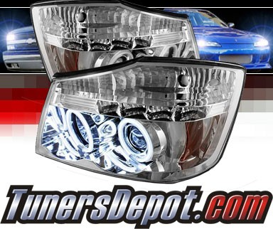 Sonar® LED CCFL Halo Projector Headlights - 04-12 Nissan Titan