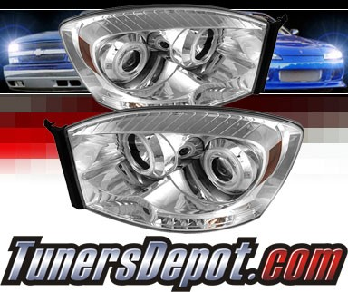 Sonar® LED CCFL Halo Projector Headlights - 06-08 Dodge Ram Pickup