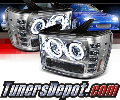 Sonar® LED CCFL Halo Projector Headlights - 07-13 GMC Sierra (Incl. Denali & Hybrid)