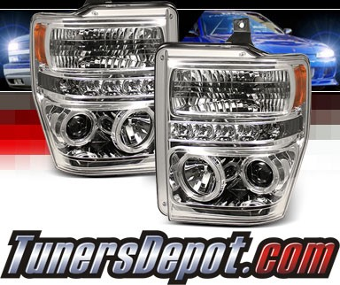 Sonar® LED CCFL Halo Projector Headlights - 08-10 Ford F-250 F250